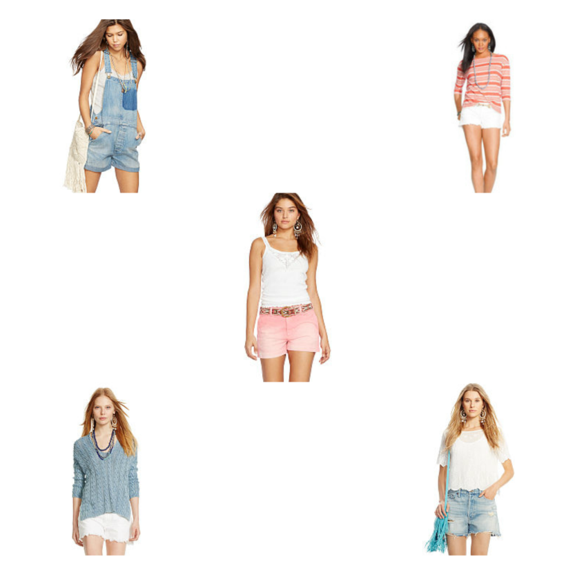 Denim shorts polo